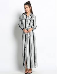woman u0027s elegant black white striped maxi dress with slit u2013 saliceshop