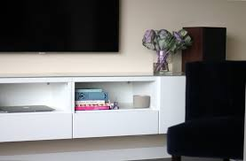 ikea media console hack floating media console ikea hack diy projects popsugar home