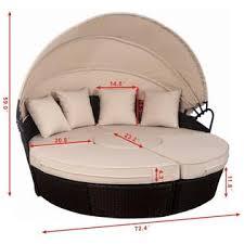goplus hw53895 outdoor mix brown rattan patio sofa furniture round