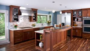 kitchen ideas with stainless steel appliances flooring blue wall and dark wood cabinets perfected with