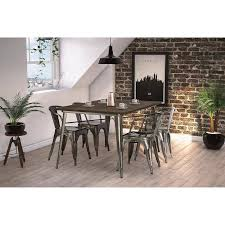 Metal Wood Chair Dhp Fusion Dining Table Rectangular Antique Gun Metal Wood