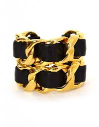 gold chain bracelet with leather images Chanel vintage 39 86 black leather woven gold chain link cuff bracelet jpg