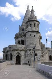 tower restored the old castle in the right budapest stock photo