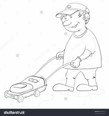 lawn mower cartoon black and white chentodayinfo