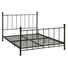 full size dark bronze metal platform bed with headboard and