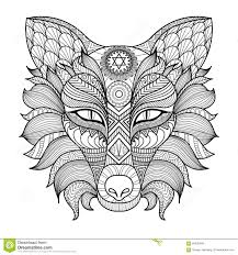 detail zentangle fox coloring page stock vector image 60025466