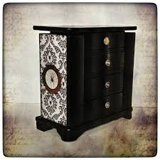 Goth Home Decor Gothic Jewelry Box Spider Damask Jewelry Cabinet Upcycled Wood