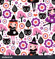 background pattern halloween seamless little witch pink halloween illustration stock vector
