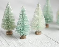 minty bottle brush trees one dozen bleached 3 inch miniature