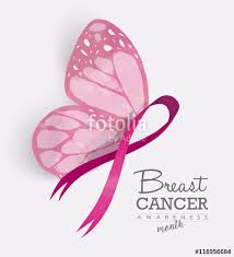 pink ribbon with butterfly wings for breast cancer stock image and