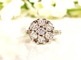 filigree engagement rings vintage daisy diamond engagement ring 1 05ctw diamond cluster ring