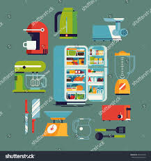 cool vector flat design kitchen appliances stock vector 684737938