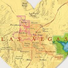 Map Of Vegas Las Vegas Map Heart Print Wedding Anniversary Gift By Bombus Off