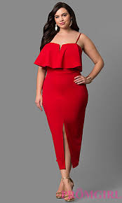 plus size dress for wedding guest ruffled popover plus size midi dress promgirl