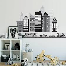 new wall decal designs wall dressed up cityscape wall decal black and white city skyline wall decal with cars and straight black