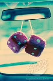 dice hanging on rear view mirror memories