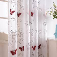 rideaux voilages cuisine rideaux voilages à oeillets 195x215cm brodés papillons rouges de