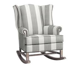 Pottery Barn Kids Houston Tx Thatcher Rocker Pewter Nailheads Awning Stripe Gray Espresso