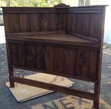 bedroom diy corner wood bed frame with high headboard for queen