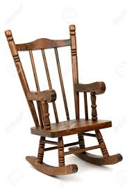 A Rocking Chair Old Wooden Rocking Chair On White Background Stock Photo Picture