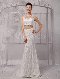 lace mermaid wedding dress two crop top illusion neckline lace mermaid wedding dress