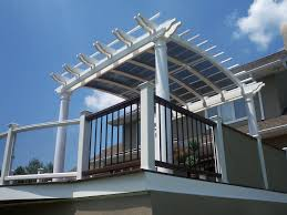 White Vinyl Pergola by Vinyl Arched Pergola With Sunshade Curved Trex Deck Pinterest