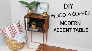 Modern Accent Table Diy Wood Crate U0026 Copper Modern Accent Table Katie Bookser Youtube
