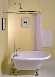 bathroom ideas with clawfoot tub yellow wall color with bronze shower rod for small bathroom ideas
