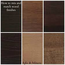 ideas for how to mix match and coordinate wood finishes and