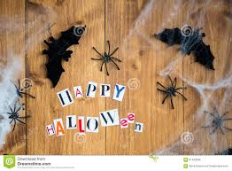 happy halloween letters cut out from the magazines bats and bla