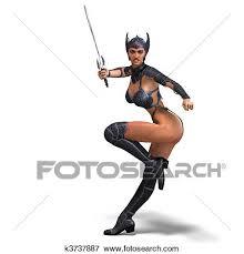 amazon warrior stock illustration of female amazon warrior with sword and armor 3d