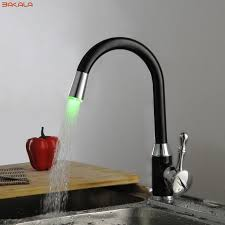 led kitchen faucets bakala black led light tap bathroom kitchen faucets swivel sink