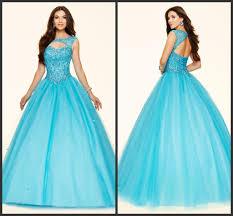 scuba blue ball gown prom pageant dresses scoop neckline cap