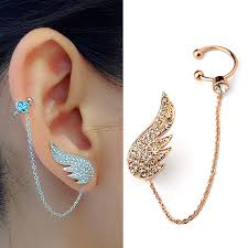 stud earing ear cuff jewelry inlay austrian angel wings stud earring