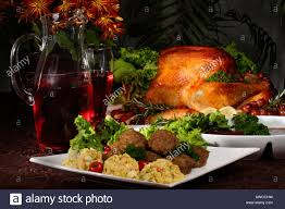 thanksgiving day dinner plate with turkey on the table in usa