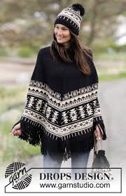 drops design poncho knitted drops poncho with graphic pattern fringes high collar in