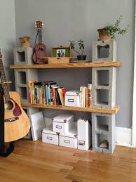 Cinder Block Home Plans Exterior Concrete Block And Wood Bookshelf Combined With Grey
