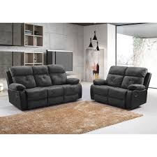 Fabric Sofa Recliners by Antrim Black Faux Suede Recliner Sofa Collection With Leather