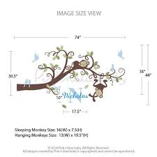 boy monkeys on branch tree and custom name pinknbluebaby com