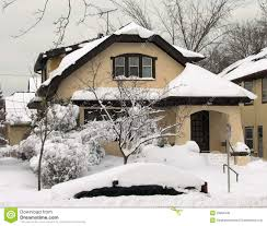 typical wisconsin house after heavy snow fall royalty free stock