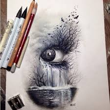 dark nature eye art sketch drawing colored pencils