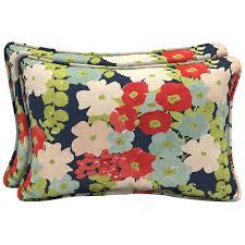 hampton bay francesca floral lumbar outdoor pillow 2 pack