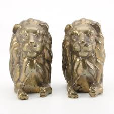 lion bookends pair of brass lion bookends ebth