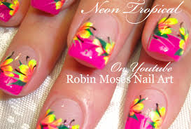 neon pink tropical nails neon yellow flowers nail art design