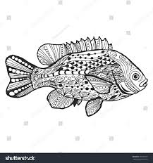 fish handdrawn fantasy fish ethnic doodle stock vector 389657833