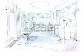 hand drawing interior perspective of modern living room stock