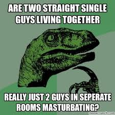 Single Guys Meme - two straight single guys living together