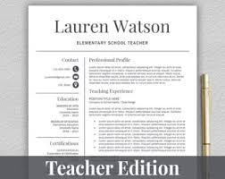 Elementary Teacher Resume Sample by Teacher Resume Template For Word U0026 Pages 1 3 Page Resume For