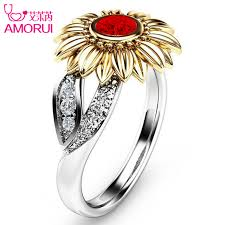 crystal stone rings images Gold sunflower crystal rings jpg