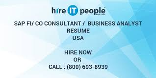 Sap Copa Resume Sap Fi Co Consultant Business Analyst Resume Hire It People